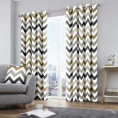 Chevron Fully Lined Eyelet Curtains - Tan Natural