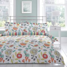 Finchley Floral Reversible Striped Duvet Cover Set - Multi