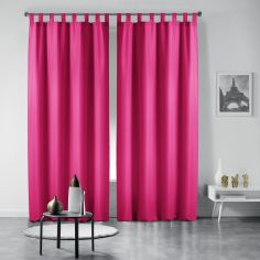 Pair of Essentiel Plain Tab Top Curtains - Fuchsia Pink