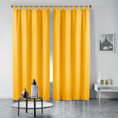 Pair of Essentiel Plain Tab Top Curtains - Yellow