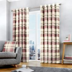 Balmoral Check Fully Lined Eyelet Curtains - Blush Pink