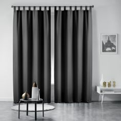 Pair of Essentiel Plain Tab Top Curtains - Black