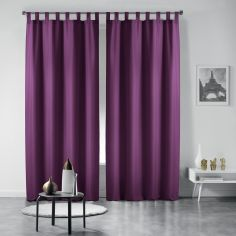 Pair of Essentiel Plain Tab Top Curtains - Purple
