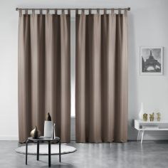 Pair of Essentiel Plain Tab Top Curtains - Taupe