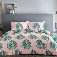 Leaves Duvet Cover Set - Green Pink