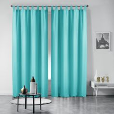 Pair of Essentiel Plain Tab Top Curtains - Mint Blue