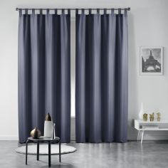 Pair of Essentiel Plain Tab Top Curtains - Grey