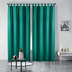 Pair of Essentiel Plain Tab Top Curtains - Emerald Green