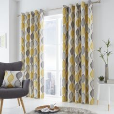 Lennox Ogee Pattern Fully Lined Eyelet Curtains - Grey