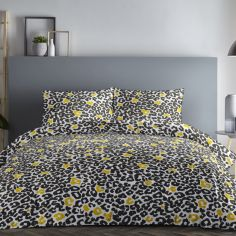 Leopard Print Duvet Cover Set - Ochre Yellow