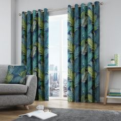 Tropical Leaf Fully Lined Eyelet Curtains - Multi