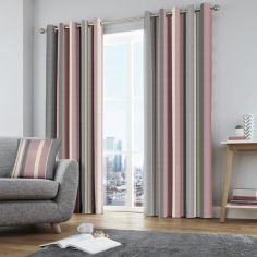 Whitworth Striped Fully Lined Eyelet Curtains - Blush Pink