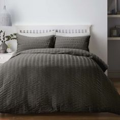 Seersucker Woven Duvet Cover Set - Charcoal Grey