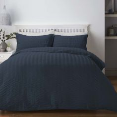 Seersucker Woven Duvet Cover Set - Denim Blue