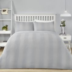 Waffle Stripe Duvet Cover Set - Silver Grey