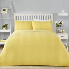 Waffle Stripe Duvet Cover Set - Ochre Yellow