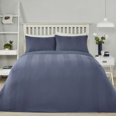Waffle Stripe Duvet Cover Set - Denim Blue