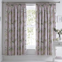 Florence Painted Floral Fully Lined Tape Top Curtains - Blush Pink