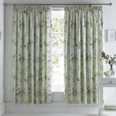 Florence Painted Floral Fully Lined Tape Top Curtains - Green