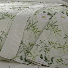 Florence Painted Floral Quilted Bedspread - Green