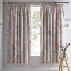 Jakarta Floral Fully Lined Tape Top Curtains - Blush Pink