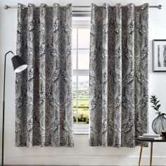 Maduri Ornamental Paisley Fully Lined Eyelet Curtains - Black