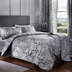 Maduri Ornamental Paisley Quilted Bedspread - Black