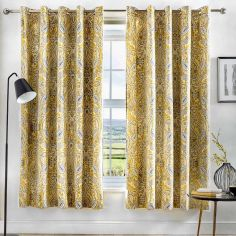 Maduri Ornamental Paisley Fully Lined Eyelet Curtains - Ochre Yellow