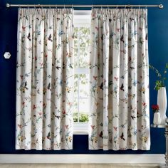 Mansfield Floral Birds Fully Lined Tape Top Curtains - Grey