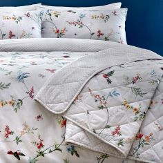 Mansfield Floral Birds Quilted Bedspread - Grey