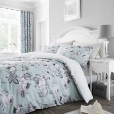 Catherine Lansfield Shrewsbury Floral Duvet Cover Set - Duck Egg Blue