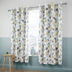 Catherine Lansfield Retro Circles Fully Lined Eyelet Curtains - Multi