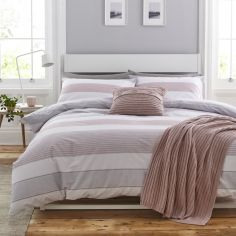 Catherine Lansfield Newquay Stripe Duvet Cover Set - Blush Pink