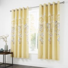 Catherine Lansfield Oriental Blossom Fully Lined Eyelet Curtains - Yellow