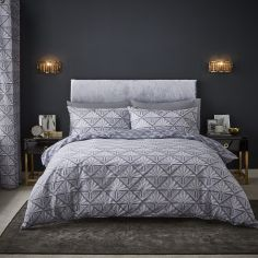 Catherine Lansfield Art Deco Duvet Cover Set - Silver Grey