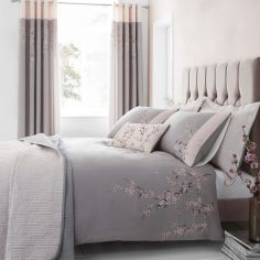 Catherine Lansfield Embroidered Blossom Duvet Cover Set - Grey