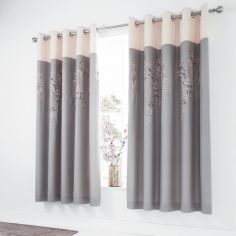 Catherine Lansfield Embroidered Blossom Fully Lined Eyelet Curtains - Grey