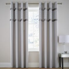 Catherine Lansfield Sequin Cluster Fully Lined Eyelet Curtains - Silver Grey