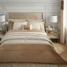 Catherine Lansfield Velvet Diamante Glamour Duvet Cover Set - Gold