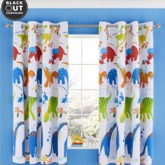 Catherine Lansfield Kids Dino-Saw Fully Lined Blackout Eyelet Curtains - Multi