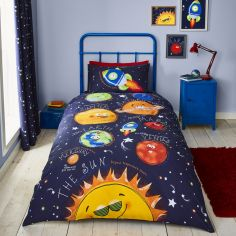Catherine Lansfield Kids Happy Space Duvet Cover Set - Navy Blue