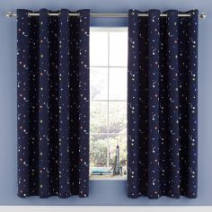 Catherine Lansfield Happy Space Fully Lined Eyelet Curtains - Navy Blue