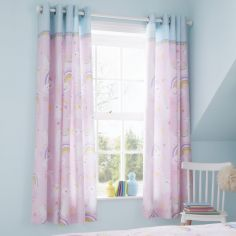 Catherine Lansfield Kids Llama-corn Fully Lined Eyelet Curtains - Pink