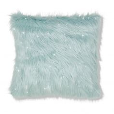 Catherine Lansfield Metallic Fur Cushion Cover - Duck Egg Blue