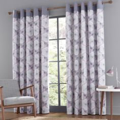 Catherine Lansfield Retro Floral Fully Lined Eyelet Curtains - Heather Pink