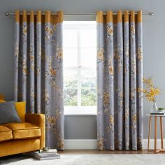 Grey Ochre Yellow Curtains & Pelmets Alabar Floral Fully Lined Eyelet Curtains Home, Furniture & Diy