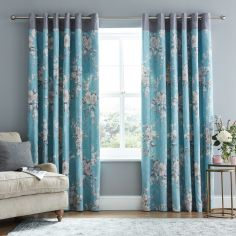 Catherine Lansfield Canterbury Fully Lined Eyelet Curtains - Teal Blue