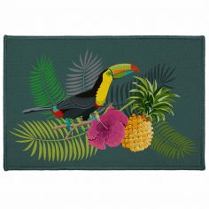 Domingo Toucan Floral Rectangular Door Mat - Multi
