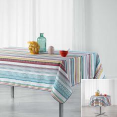 Caly Striped Printed Tablecloth - Multi