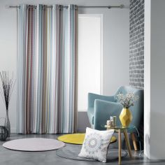 Caly Striped Eyelet Unlined Curtain Panel - Multi